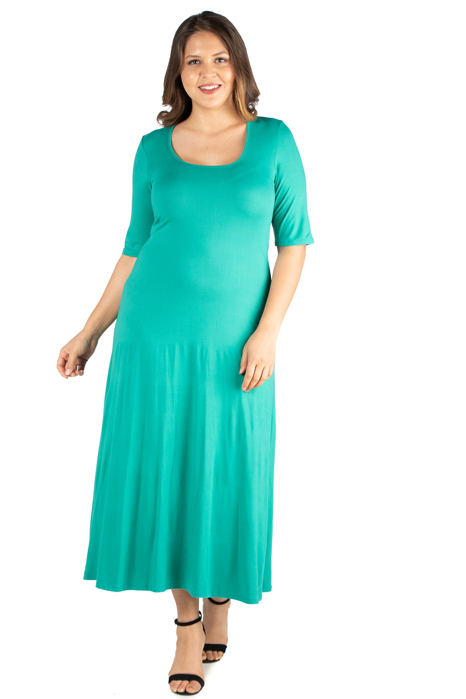 24seven Comfort Apparel Elbow Length Sleeve Plus Size Maxi Dress-DRESSES-24Seven Comfort Apparel-JADE-1X-24/7 Comfort Apparel
