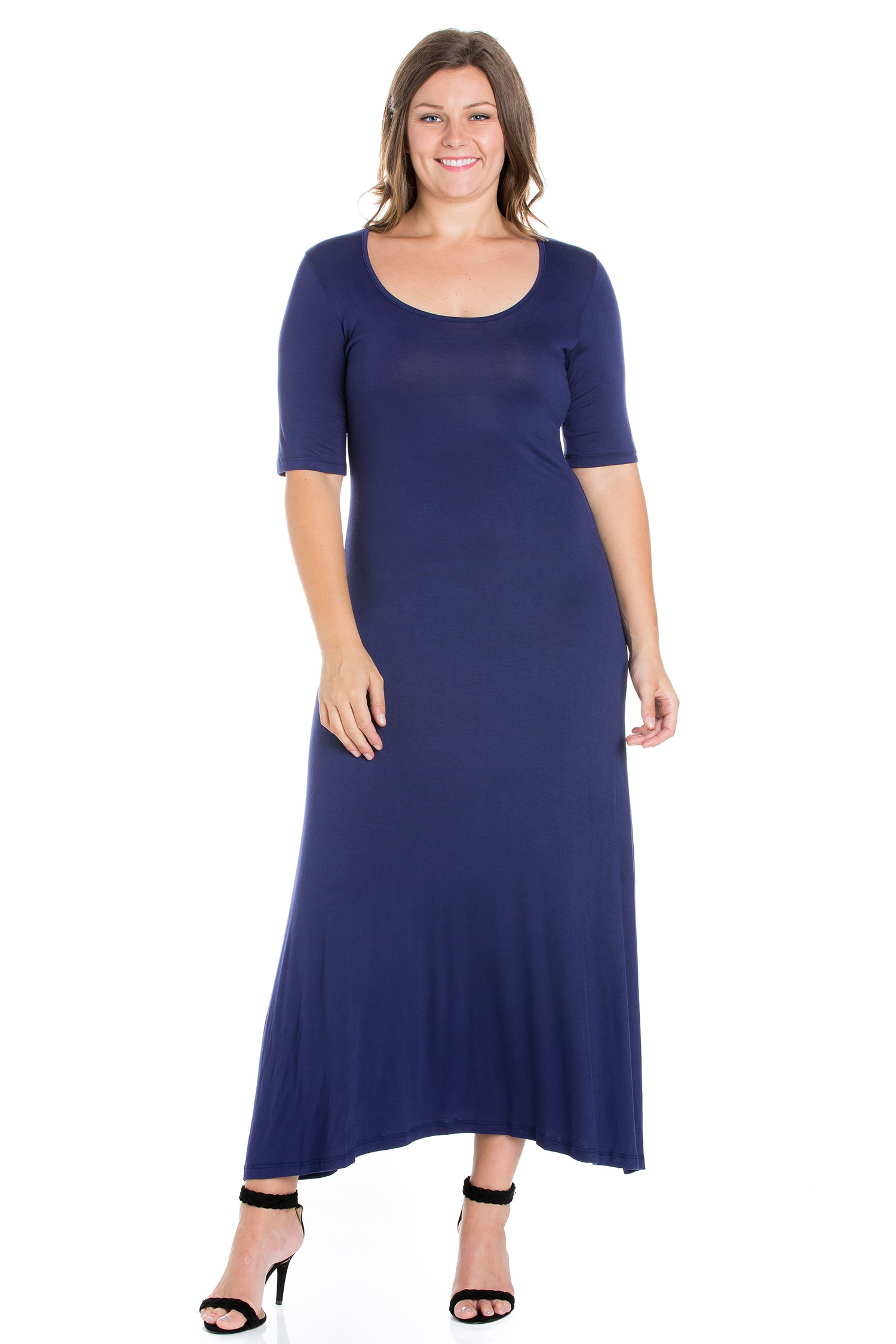24seven Comfort Apparel Elbow Length Sleeve Plus Size Maxi Dress-DRESSES-24Seven Comfort Apparel-NAVY-1X-24/7 Comfort Apparel