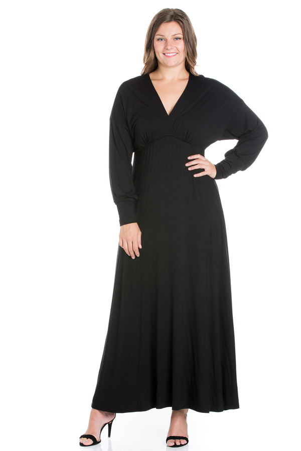 V-Neck Long Sleeve Plus Size Maxi Dress