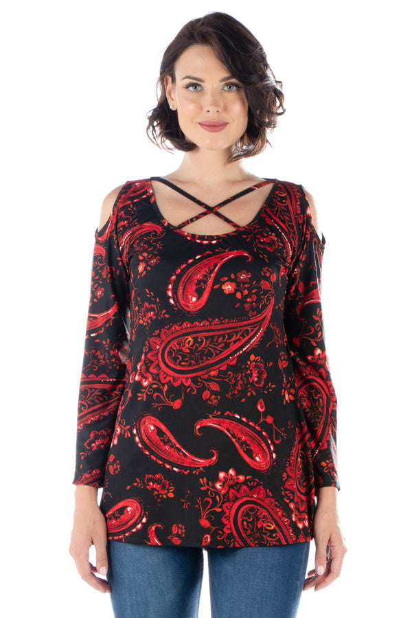 Red Paisley Long Sleeve Cold Shoulder Top