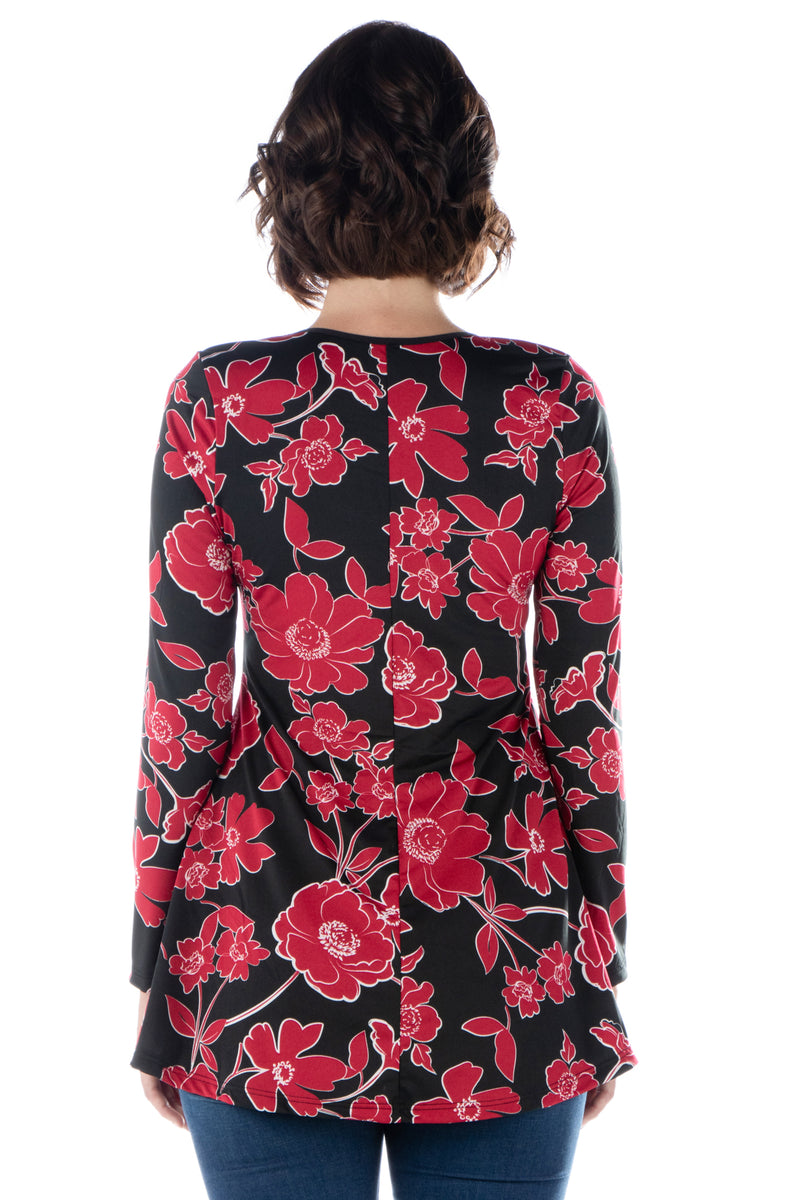 Red Floral Long Sleeve Scoop Neck Swing Top