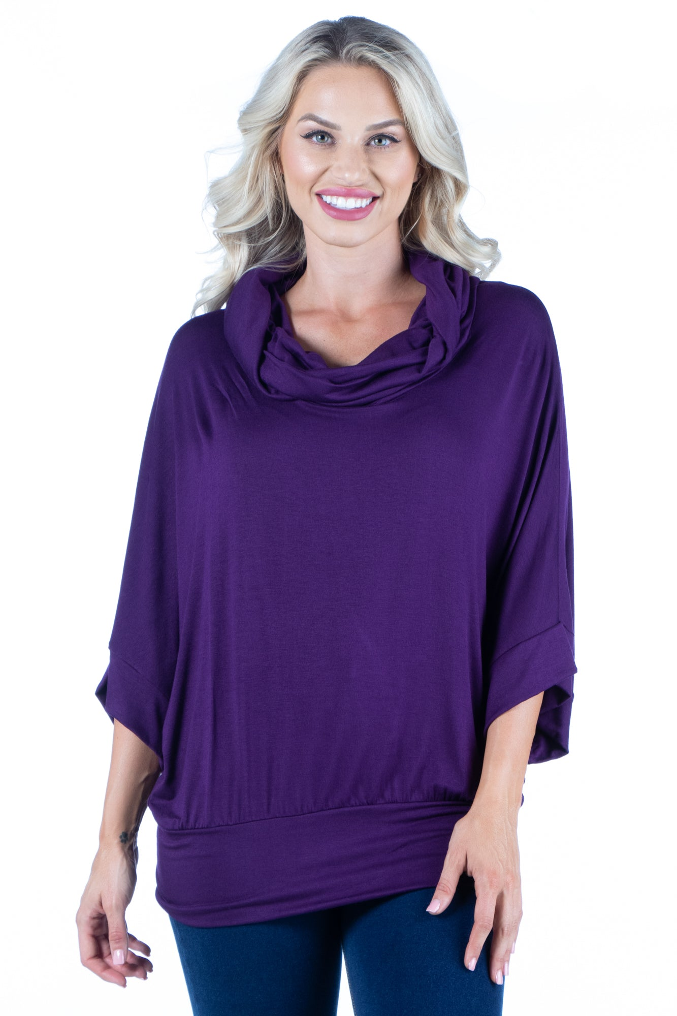 24seven Comfort Apparel Oversized Cowl Neck Tunic Top