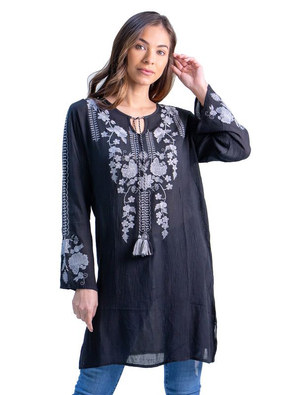 Elegant Knee Length Embroidered Peasant Top