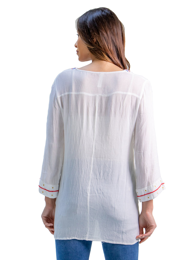 White Lightweight V Neck Peasant Top