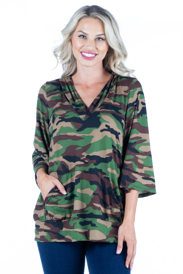 Camo Print Oversized Pocket Hoodie Top