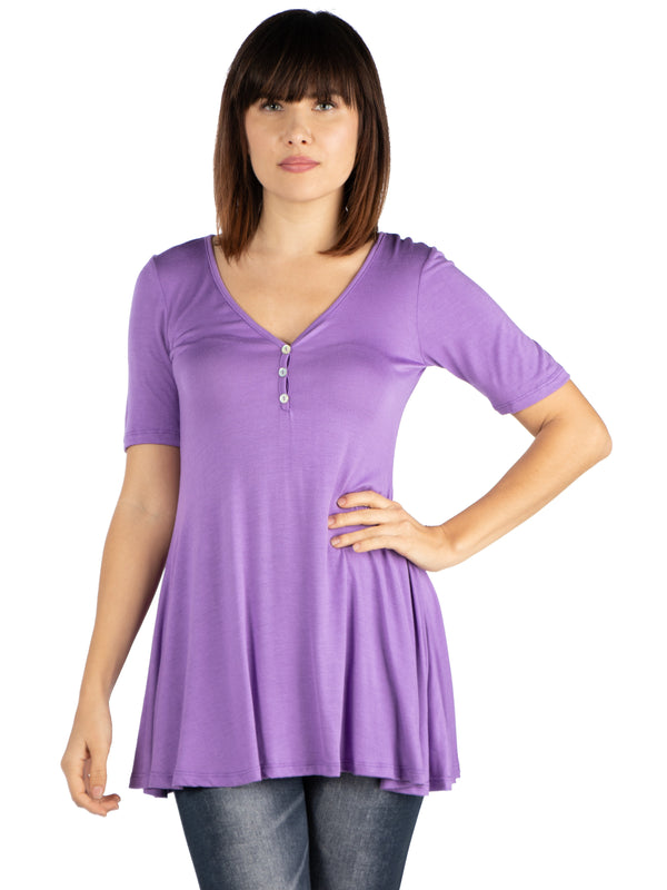 Short Sleeve Tunic Top with Button Detail