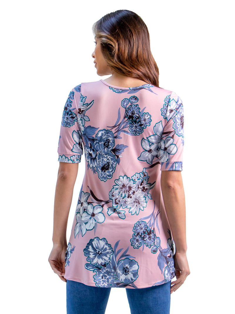 Flared Rose Pink Floral Elbow Sleeve Tunic Top