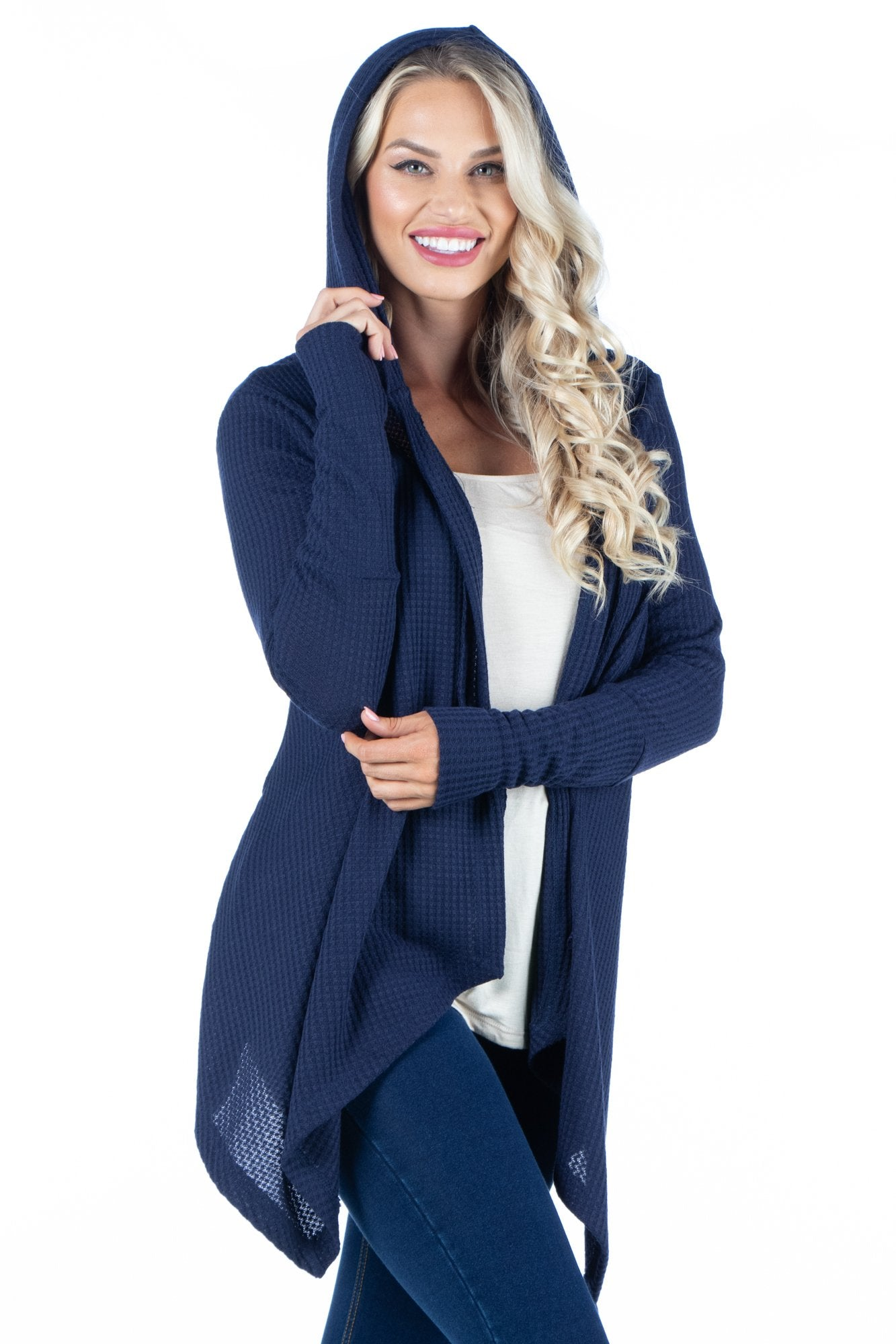 24seven Comfort Apparel Waffle Fabric Cardigan Hoodie