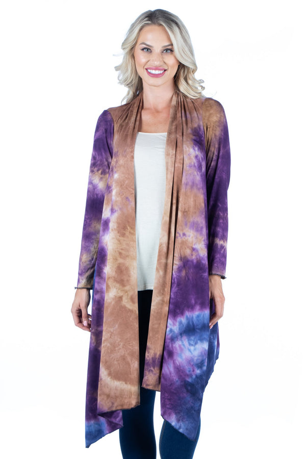 Knee Length Open Front Tie Dye Cardigan