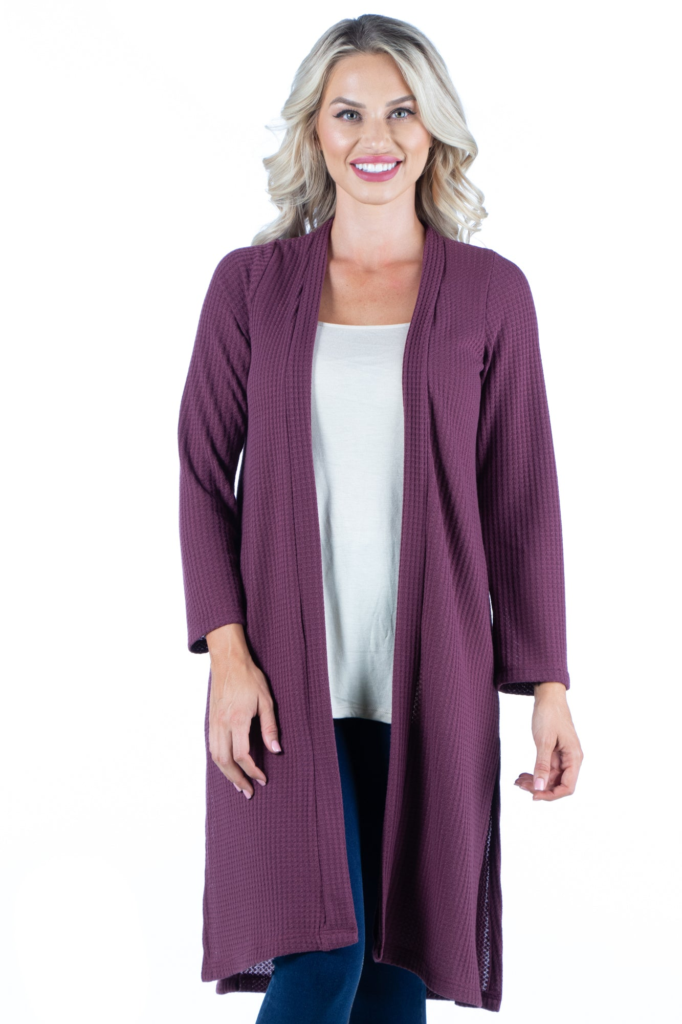 24seven Comfort Apparel Waffle Fabric Long Sleeve Knee Length Cardigan