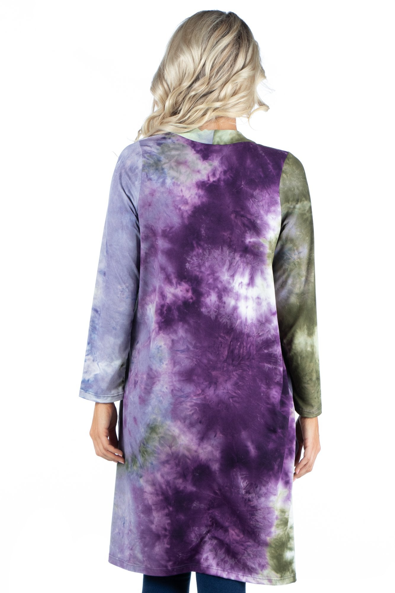 24seven Comfort Apparel Open Front Knee Length Tie Dye Cardigan
