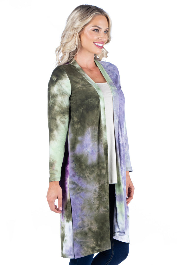 Open Front Knee Length Tie Dye Cardigan