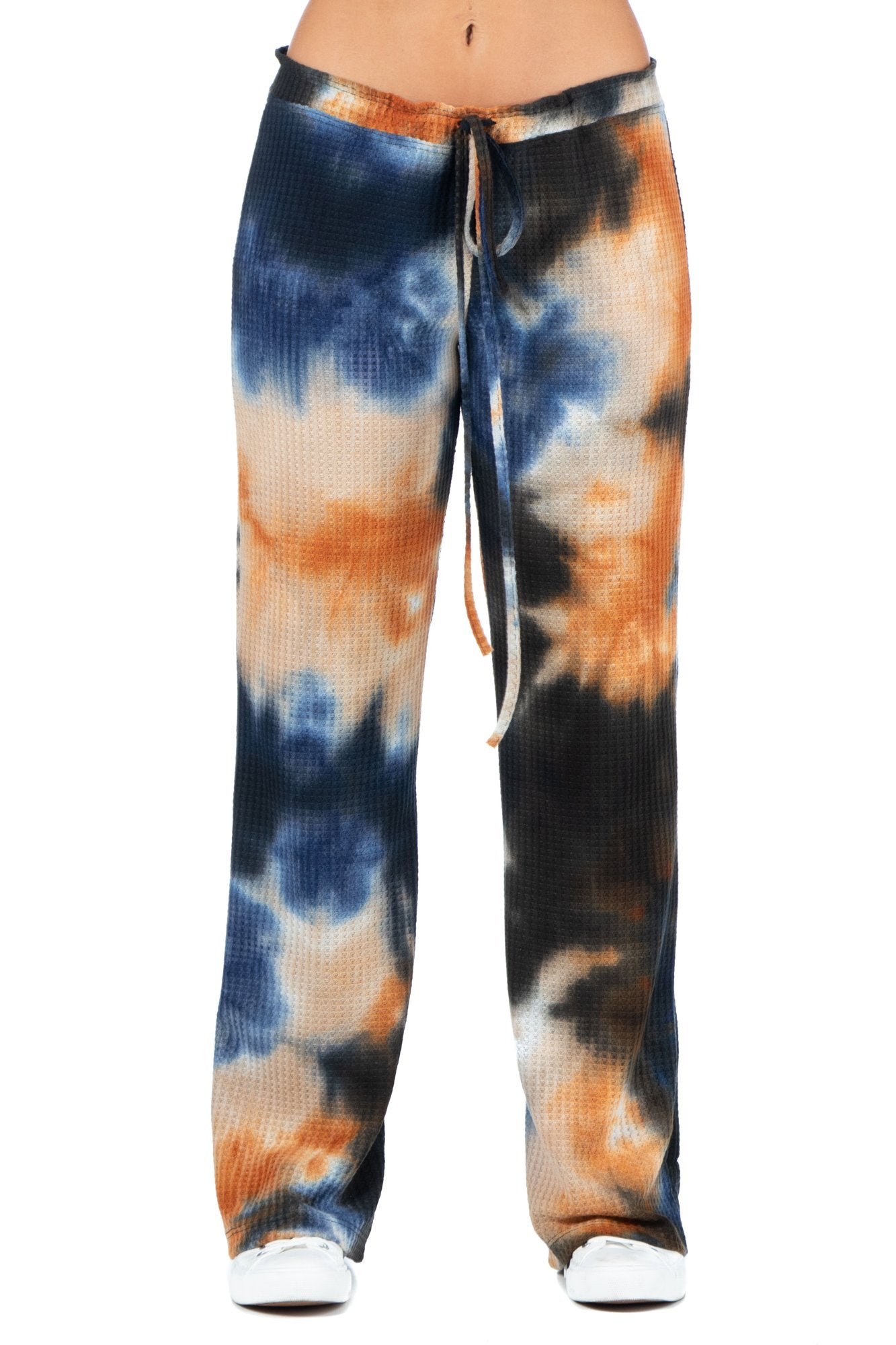 24seven Comfort Apparel Waffle Fabric Tie Dye Drawstring Lounge Pants