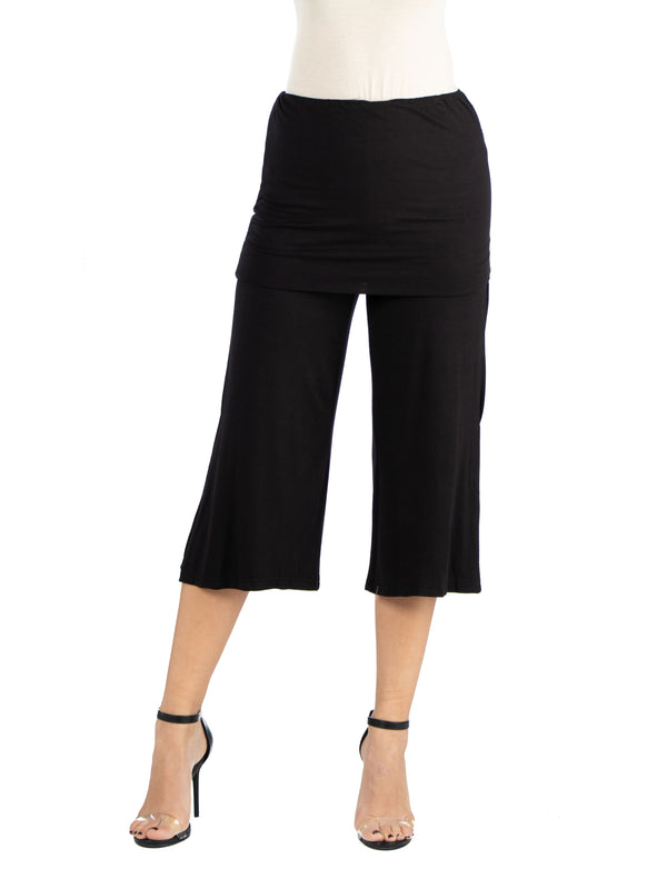 Cropped Elastic Straight Pants