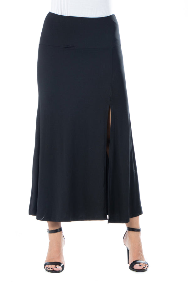 Black Side Slit Ankle Length Skirt