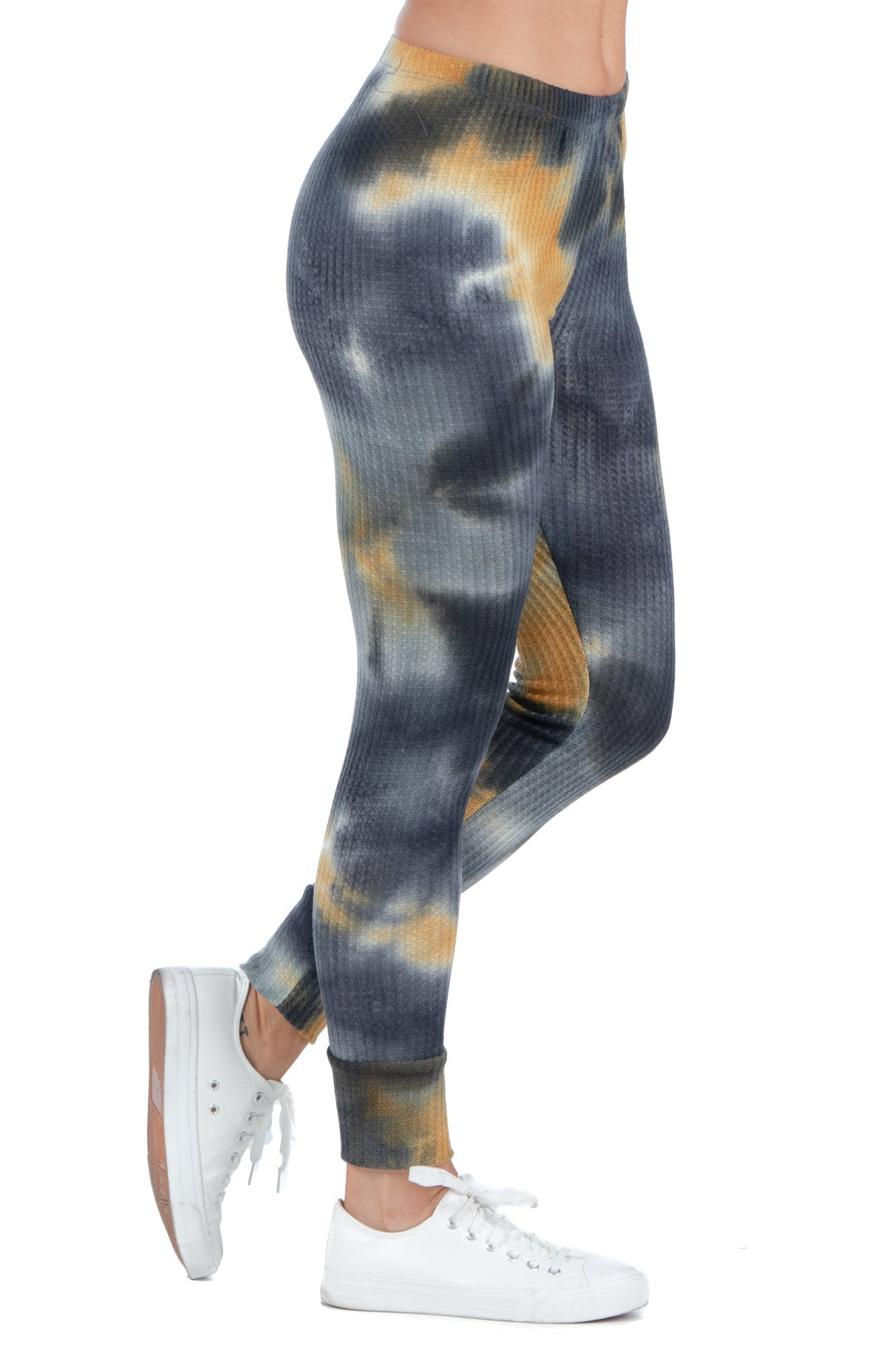 24seven Comfort Apparel Tie Dye Print Fitted Ankle Cuff Sweatpants