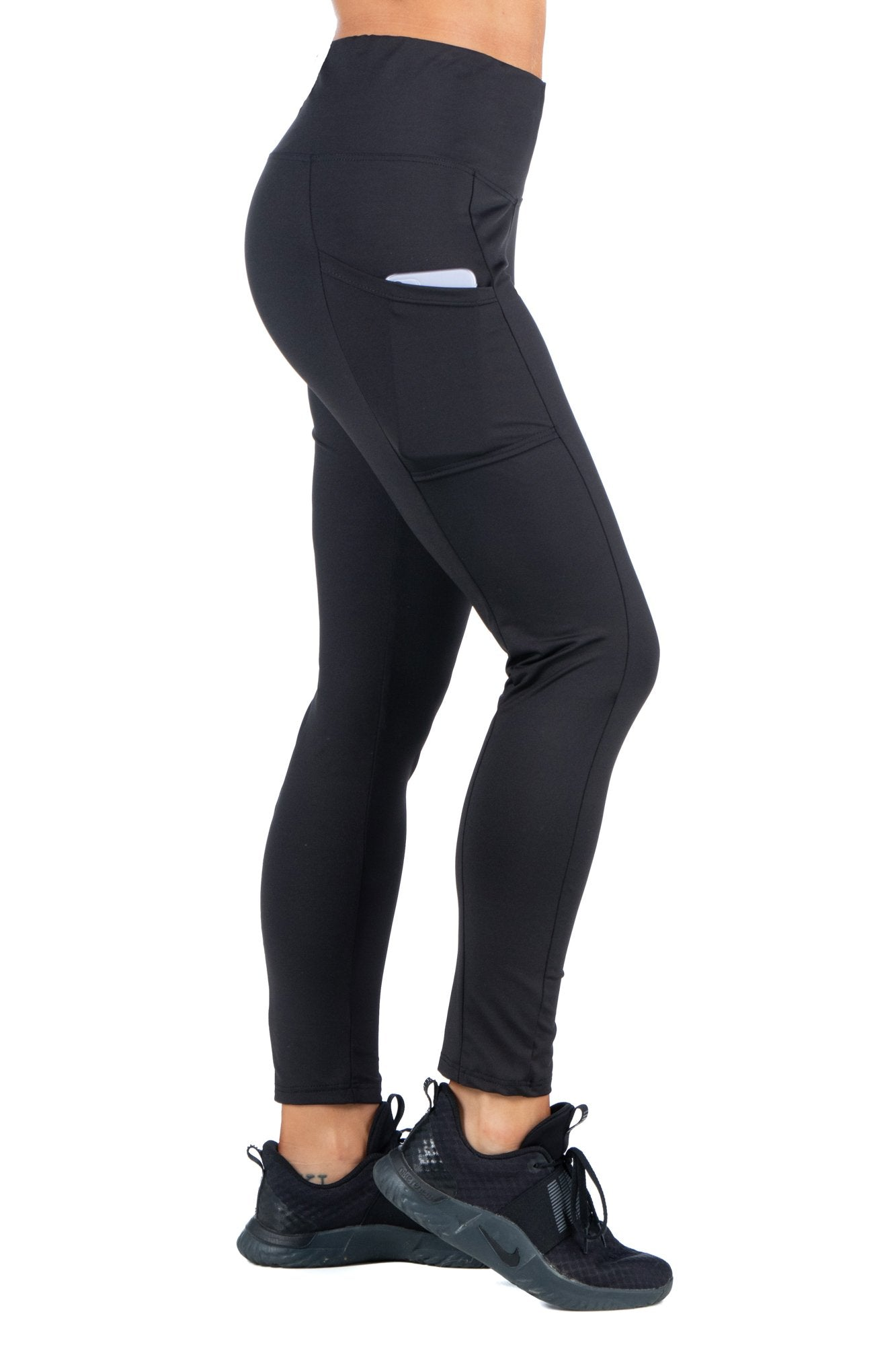 24seven Comfort Apparel High-Rise Side Phone Pocket Active Leggings