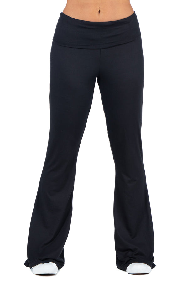 Black Bell Bottom Foldover Waist Sweatpants