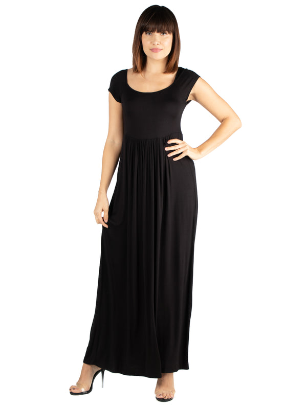Maxi Dress with Round Neck and Empire Waist