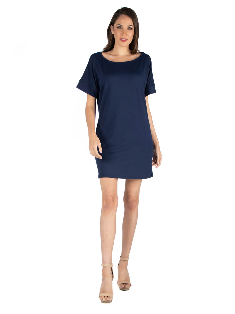 Womens Loose Fit T Shirt Dress with boat Neck