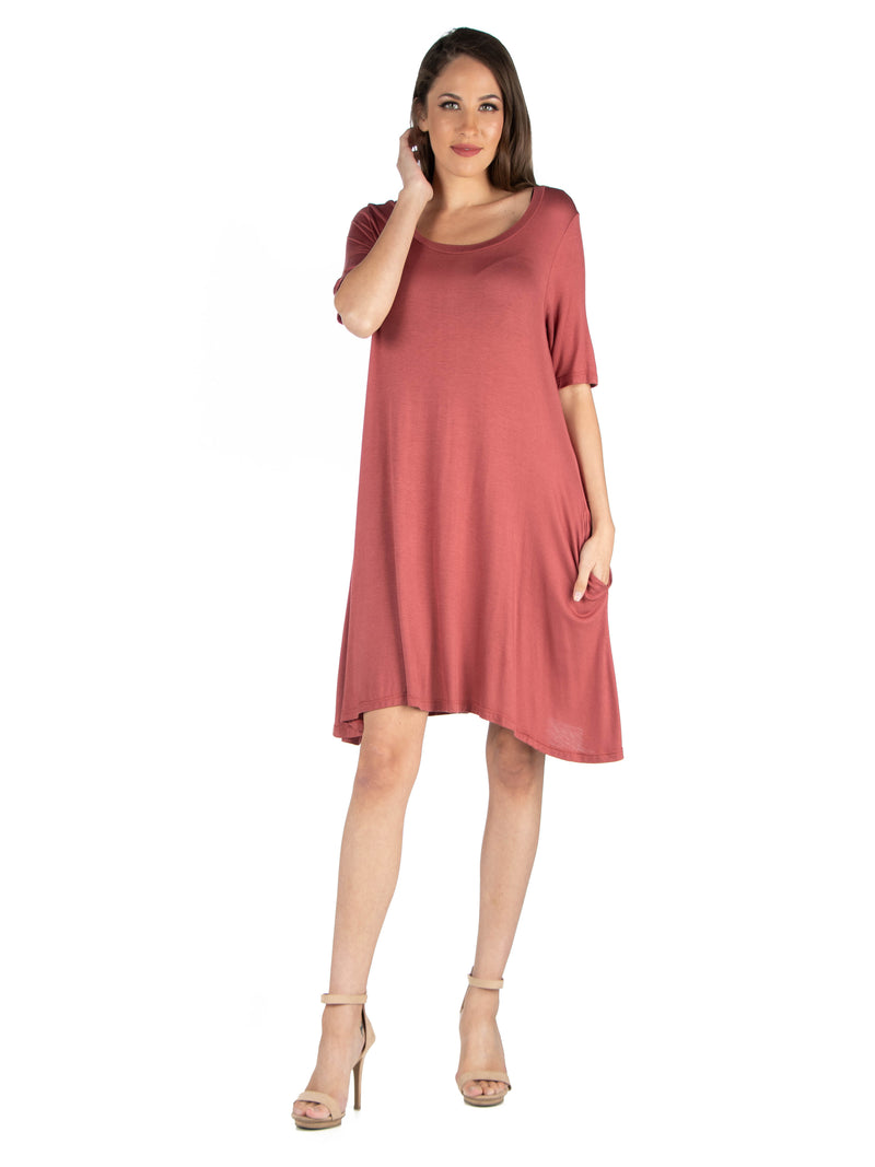 Soft Flare T Shirt Dress with Pocket Detail