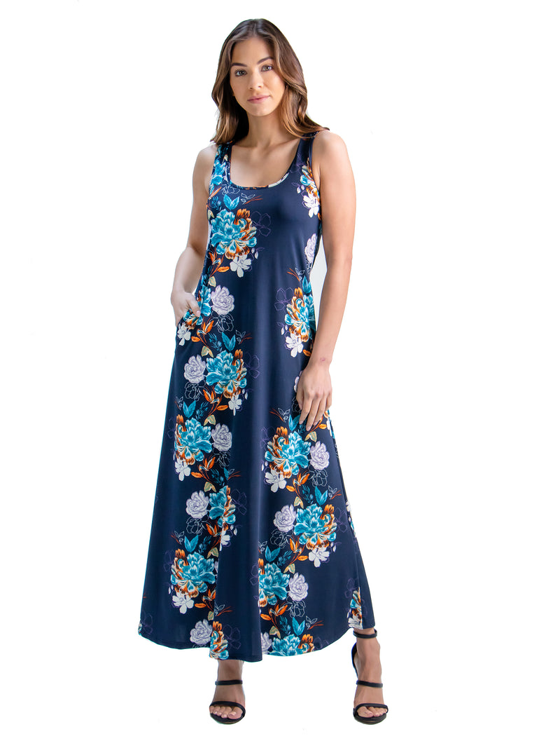 Floral Print Sleeveless Pocket Maxi Dress