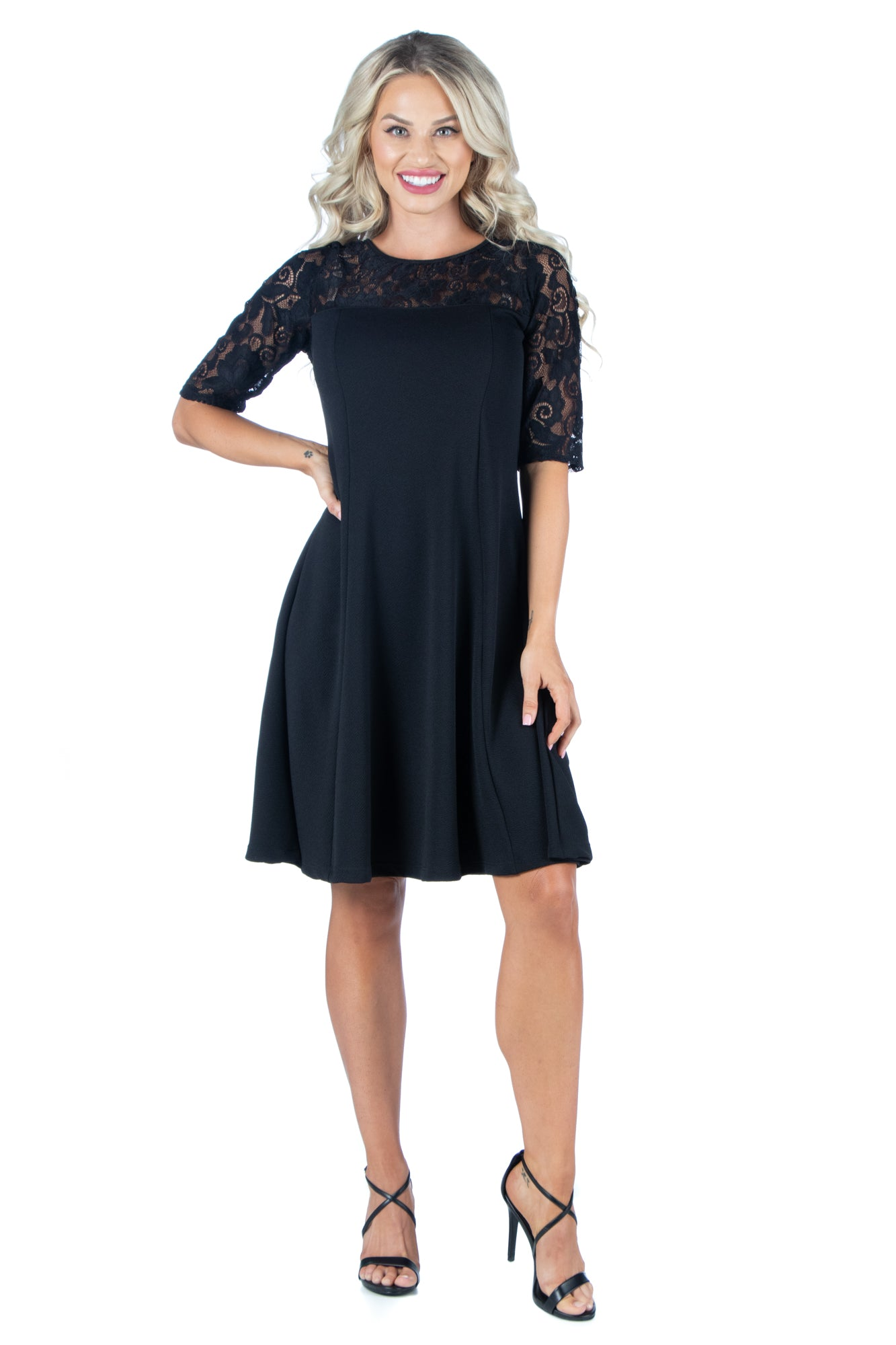 24seven Comfort Apparel Knee Length Sheer Lace Party Dress