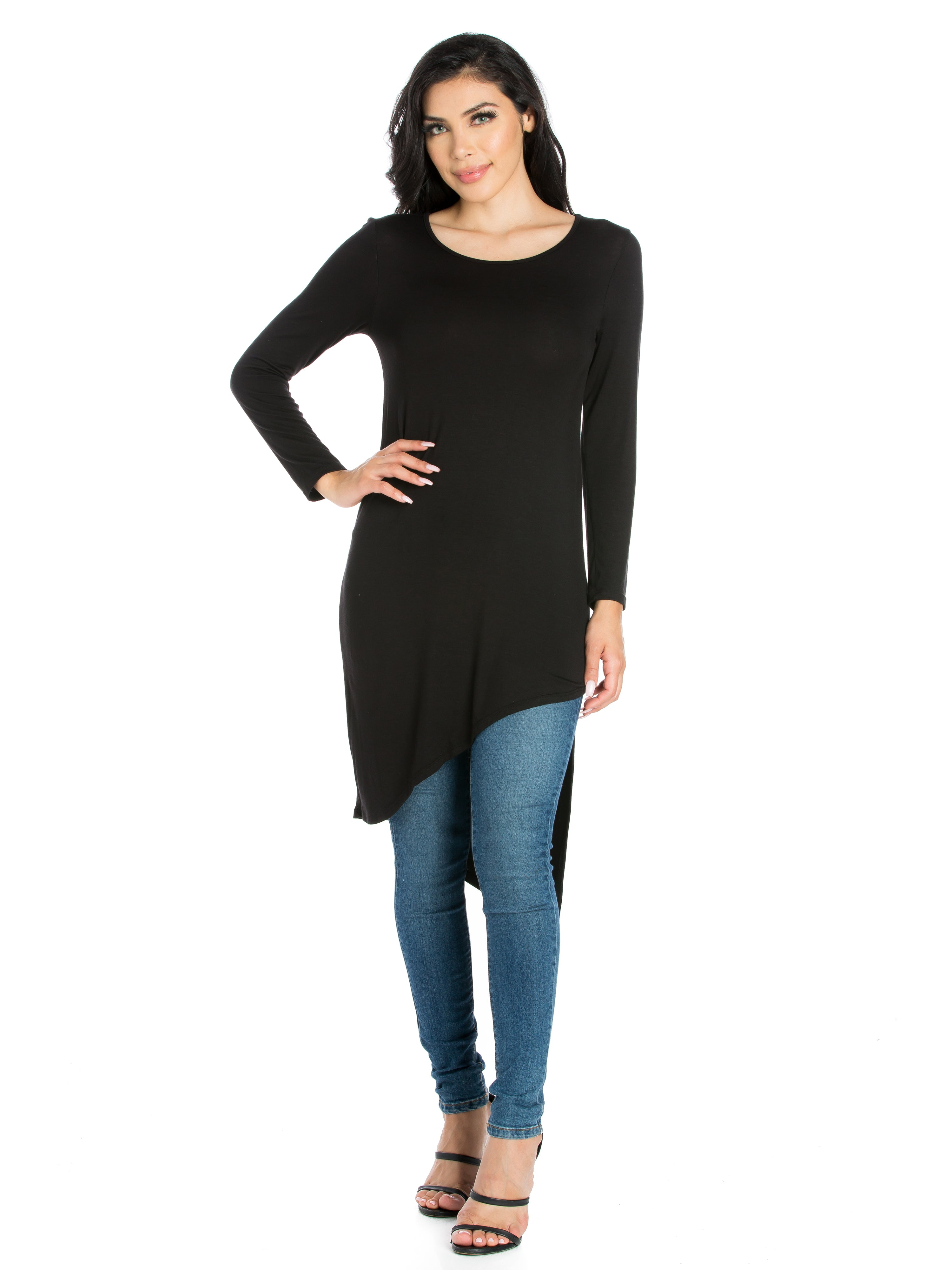 24seven Comfort Apparel Long Sleeve Knee Length Asymmetrical Tunic Top
