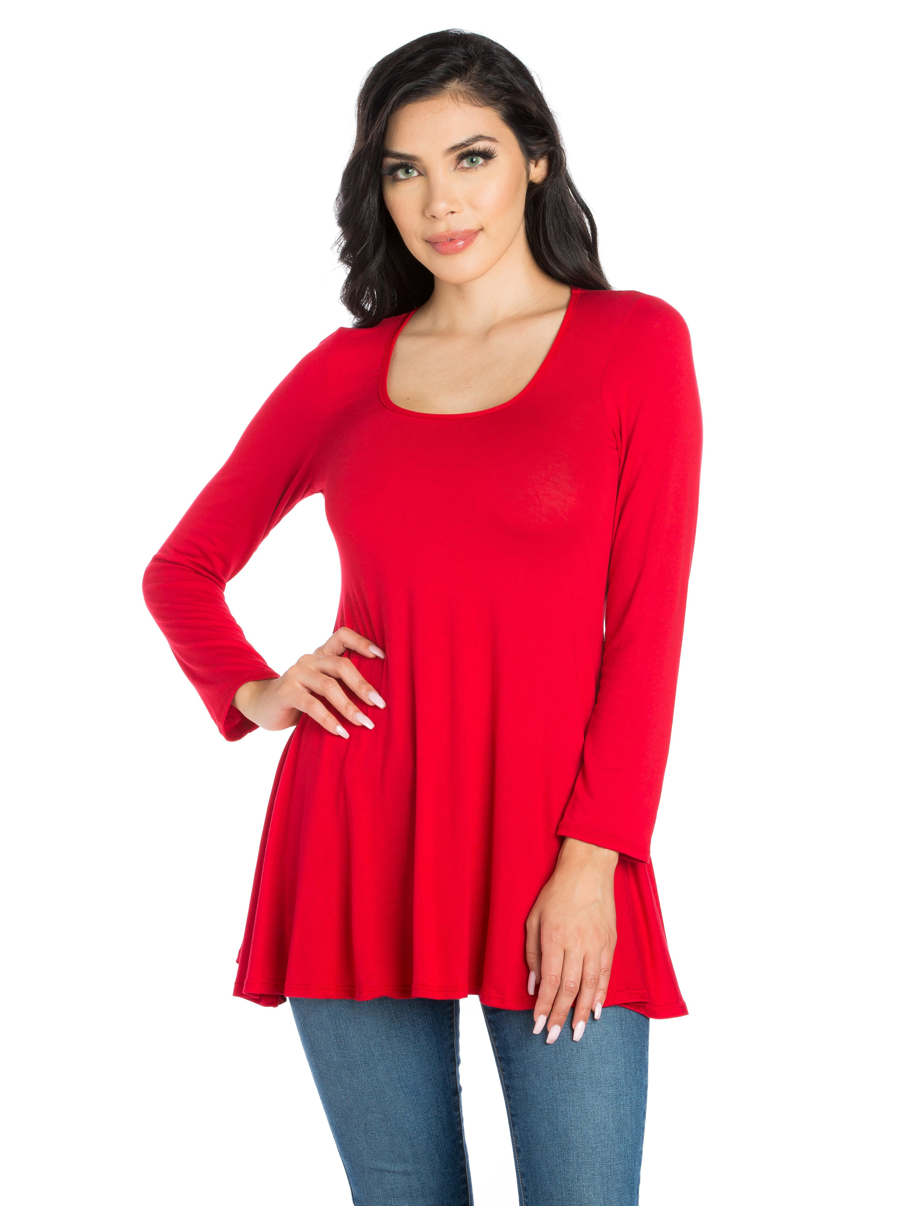 24seven Comfort Apparel Long Sleeve Swing Tunic Top