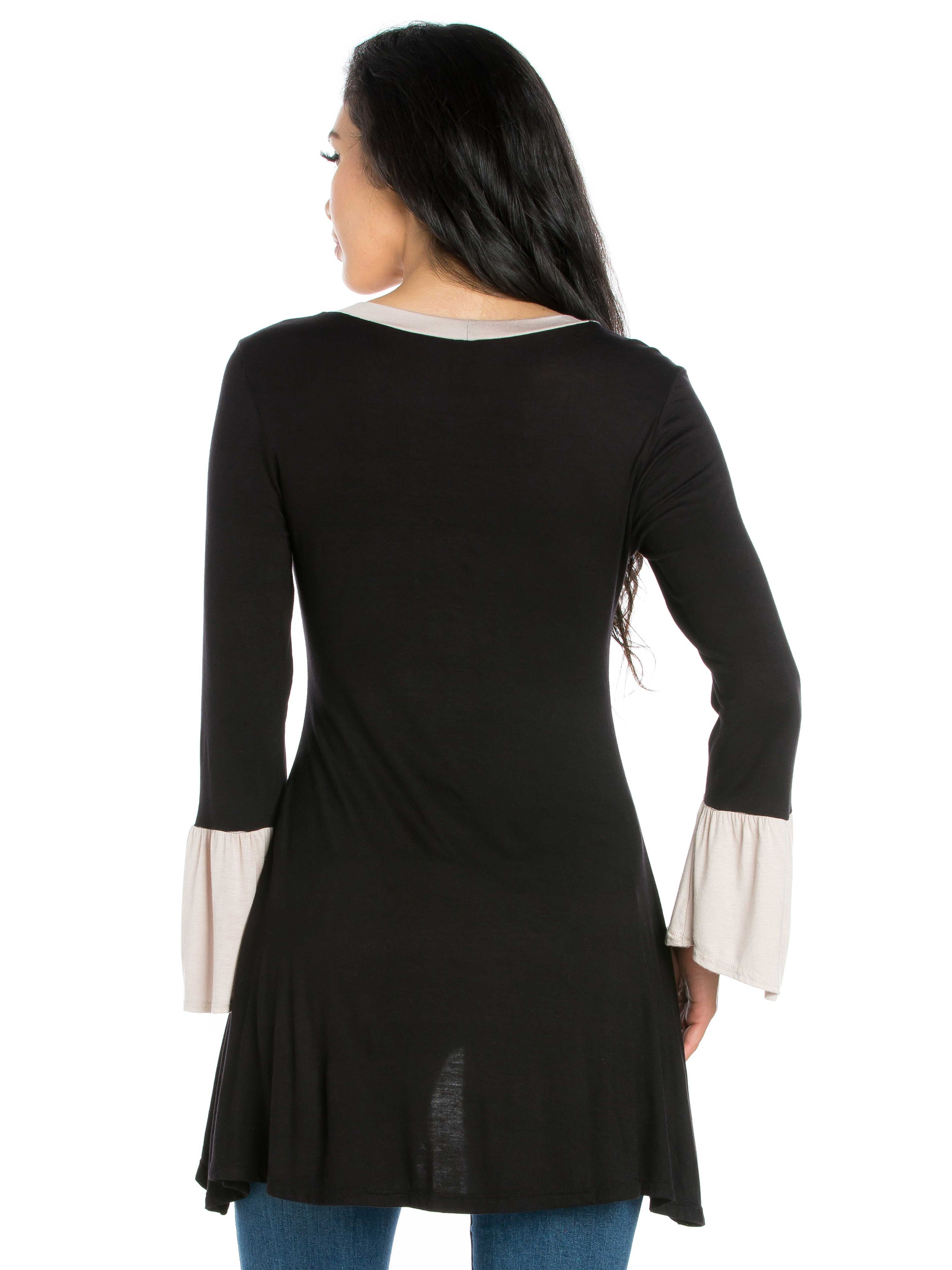 24seven Comfort Apparel Black and Beige Bell Sleeve Hi Low Tunic Top