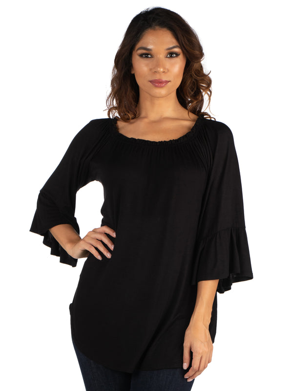 Bell Sleeve Loose Fit Tunic Top