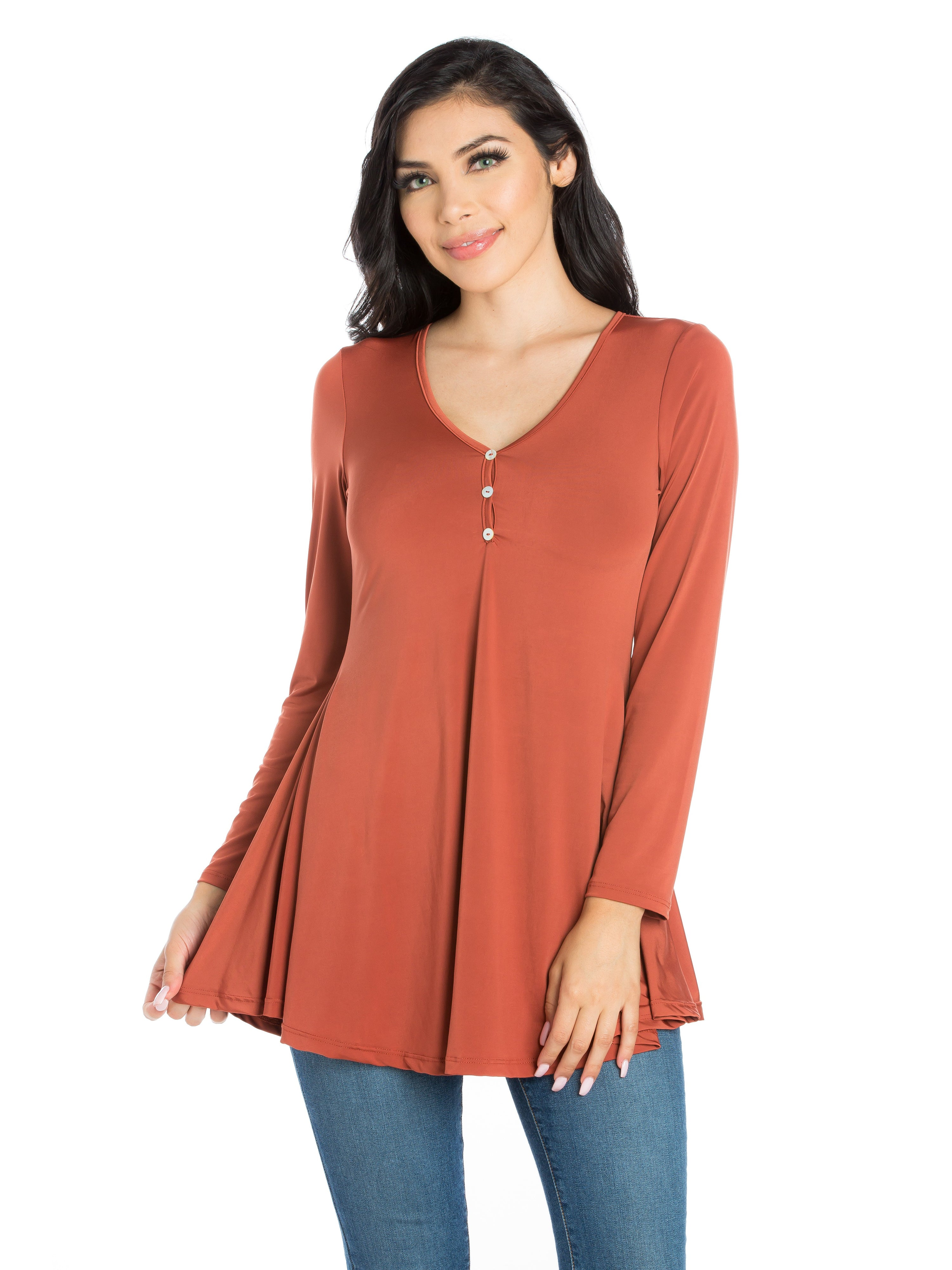 24seven Comfort Apparel Flared Long Sleeve Henley Tunic Top