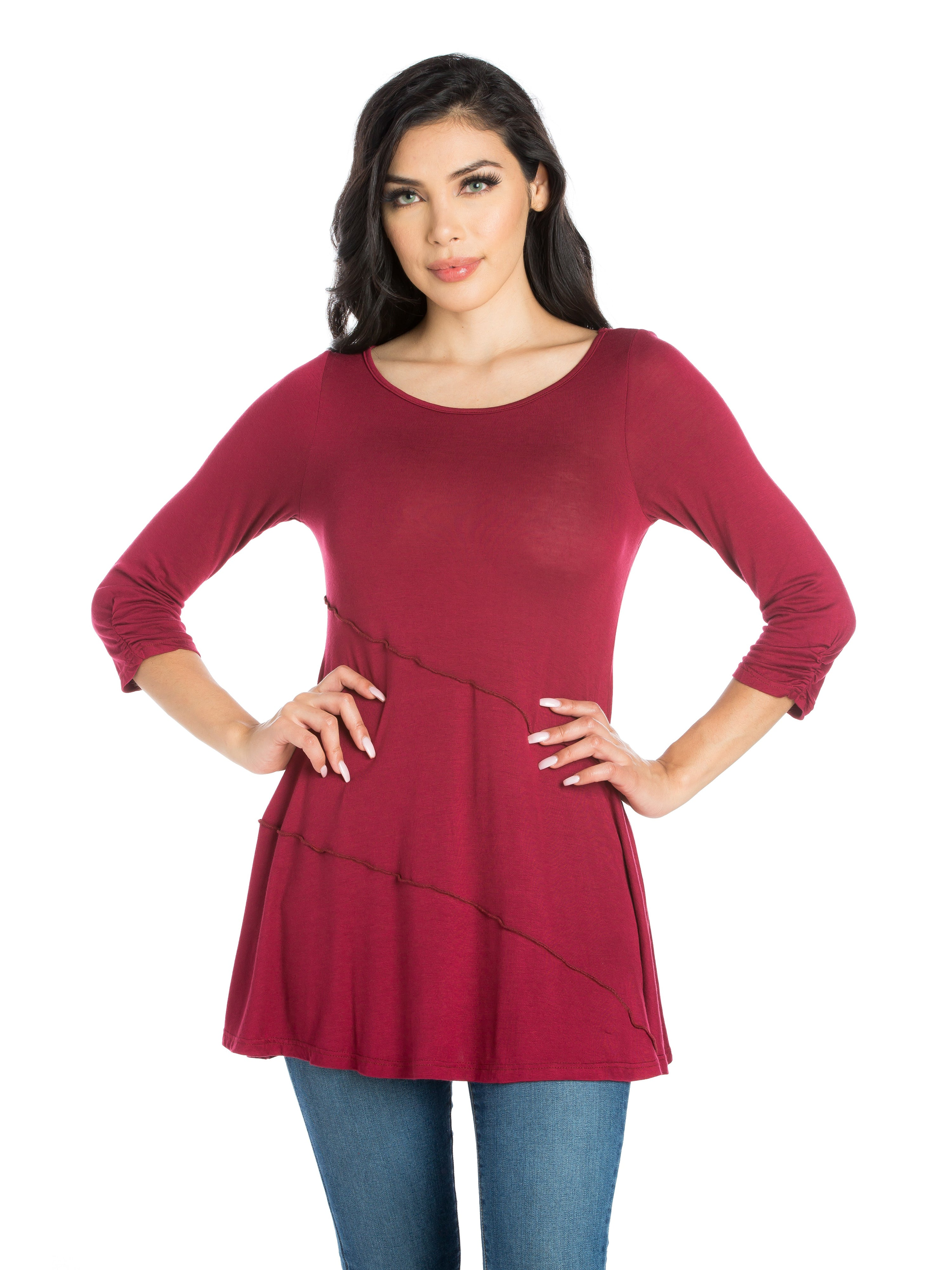 24seven Comfort Apparel Ruched Sleeve Swing Tunic Top-TOPS-24Seven Comfort Apparel-WINE-S-24/7 Comfort Apparel