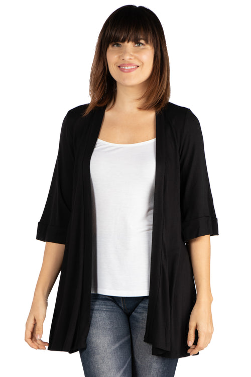 24seven Comfort Apparel Open Front Elbow Length Sleeve Womens Cardigan