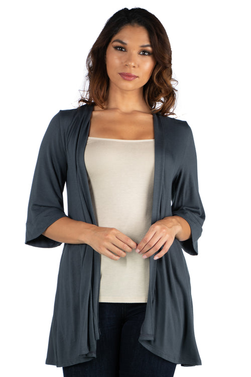 24seven Comfort Apparel Elbow Length Sleeve Open Front Cardigan-SHRUGS-24Seven Comfort Apparel-CHARCOAL-S-24/7 Comfort Apparel
