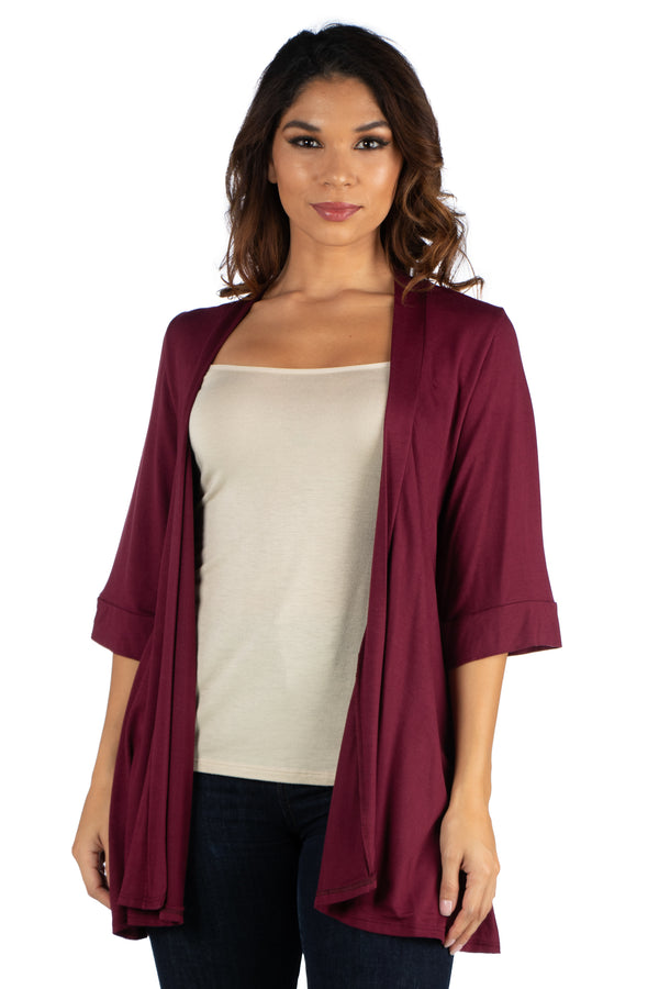 Open Front Elbow Length Sleeve Womens Cardigan