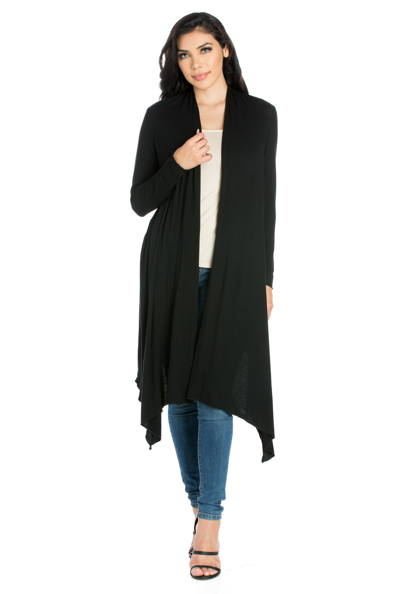 24seven Comfort Apparel Extra Long Open Front Cardigan-SHRUGS-24Seven Comfort Apparel-BLACK-S-24/7 Comfort Apparel
