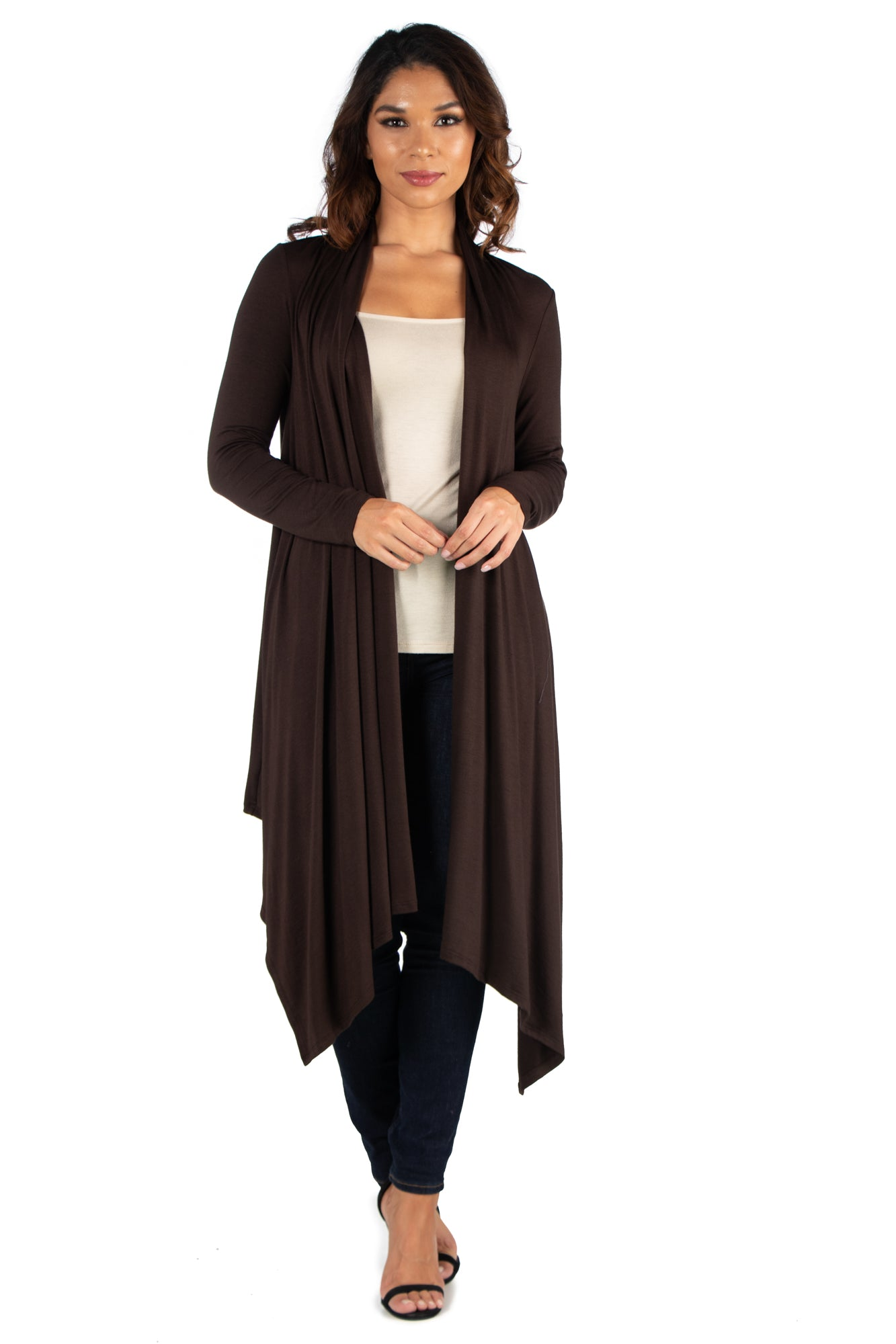 24seven Comfort Apparel Extra Long Open Front Cardigan-SHRUGS-24Seven Comfort Apparel-BROWN-S-24/7 Comfort Apparel