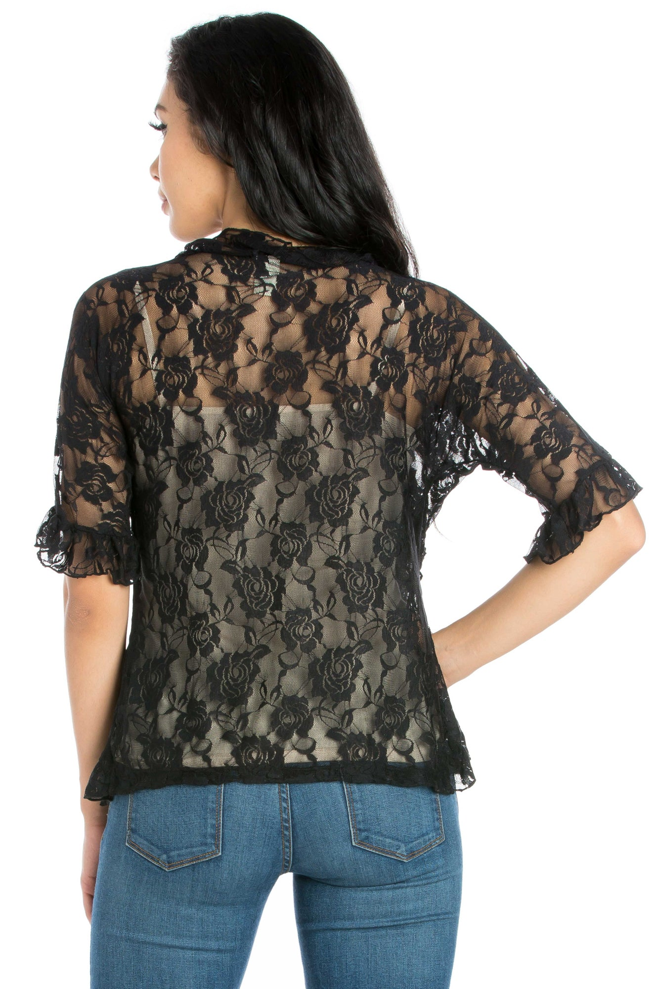 24seven Comfort Apparel Ruffle Black Lace Bolero Shrug