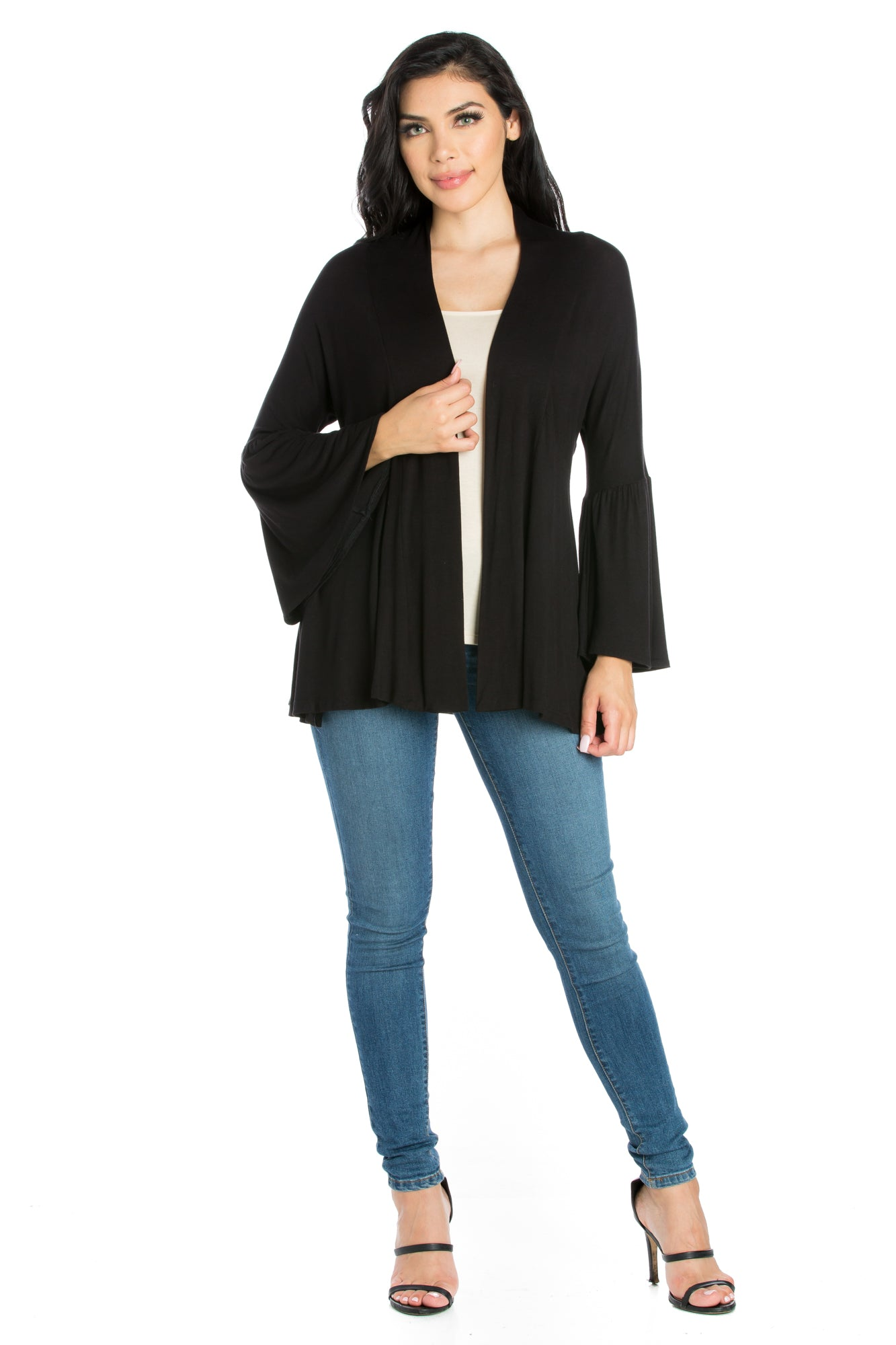 24seven Comfort Apparel Bell Sleeve Flared Open Front Cardigan-SHRUGS-24Seven Comfort Apparel-BLACK-S-24/7 Comfort Apparel