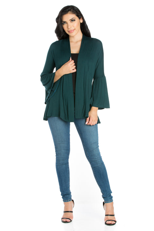 24seven Comfort Apparel Bell Sleeve Flared Open Front Cardigan-SHRUGS-24Seven Comfort Apparel-HUNTER-S-24/7 Comfort Apparel
