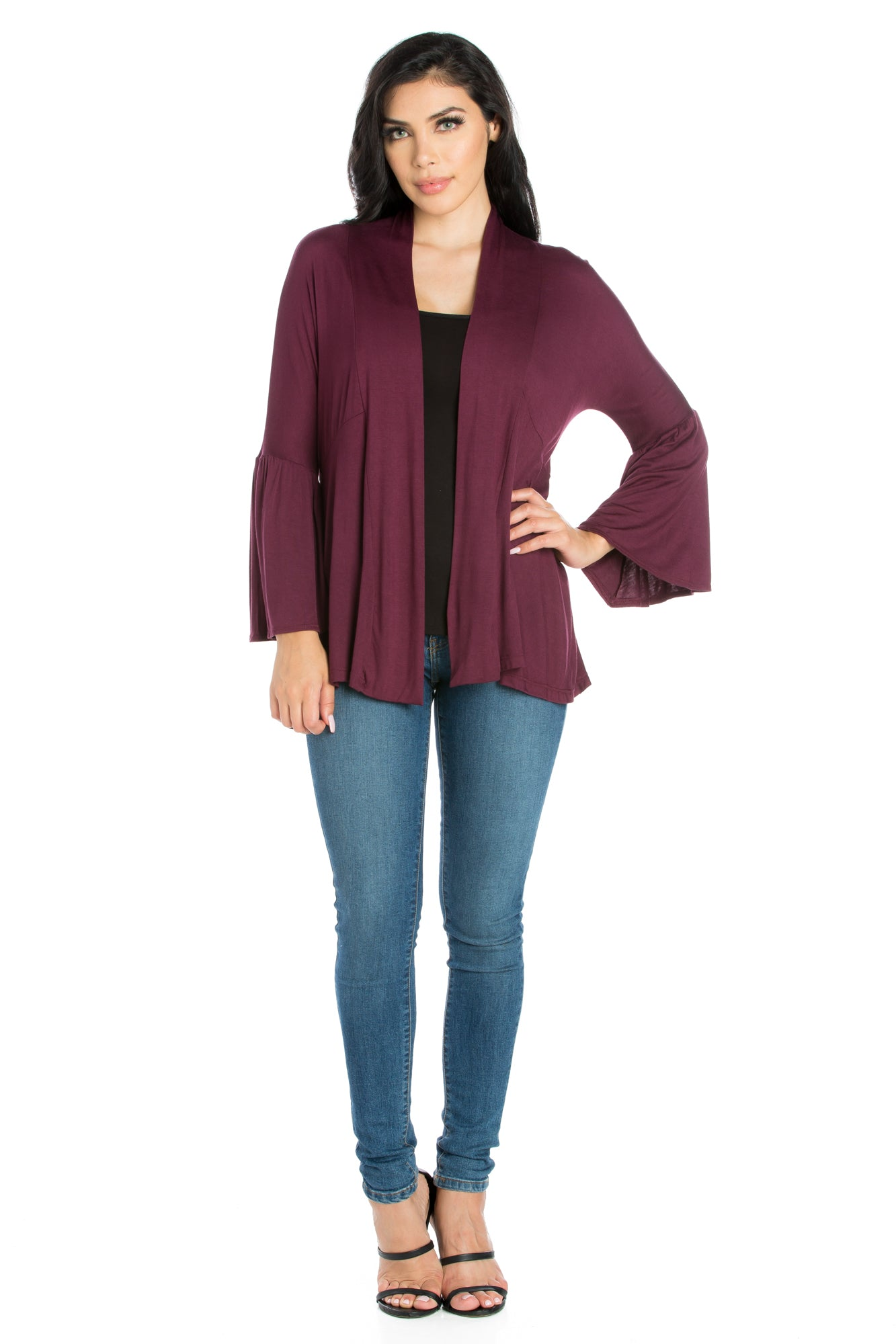 24seven Comfort Apparel Bell Sleeve Flared Open Front Cardigan-SHRUGS-24Seven Comfort Apparel-PLUM-S-24/7 Comfort Apparel