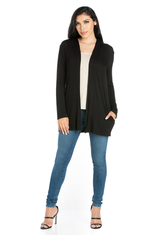 24seven Comfort Apparel Open Front Lightweight Hooded Cardigan-SHRUGS-24Seven Comfort Apparel-BLACK-S-24/7 Comfort Apparel