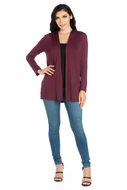 24seven Comfort Apparel Open Front Lightweight Hooded Cardigan-SHRUGS-24Seven Comfort Apparel-PLUM-S-24/7 Comfort Apparel