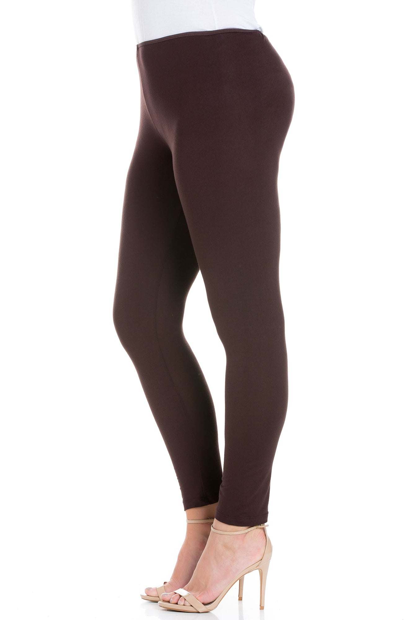 24seven Comfort Apparel Womens Comfortable Ankle Length Leggings-PANTS-24Seven Comfort Apparel-BROWN-S-24/7 Comfort Apparel