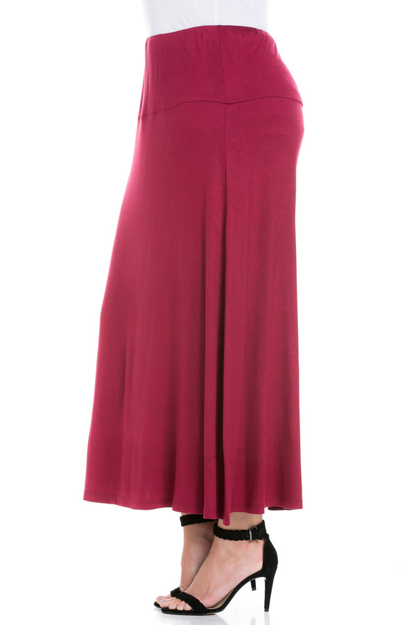 Womens Elastic Waist Solid Color Maxi Skirt
