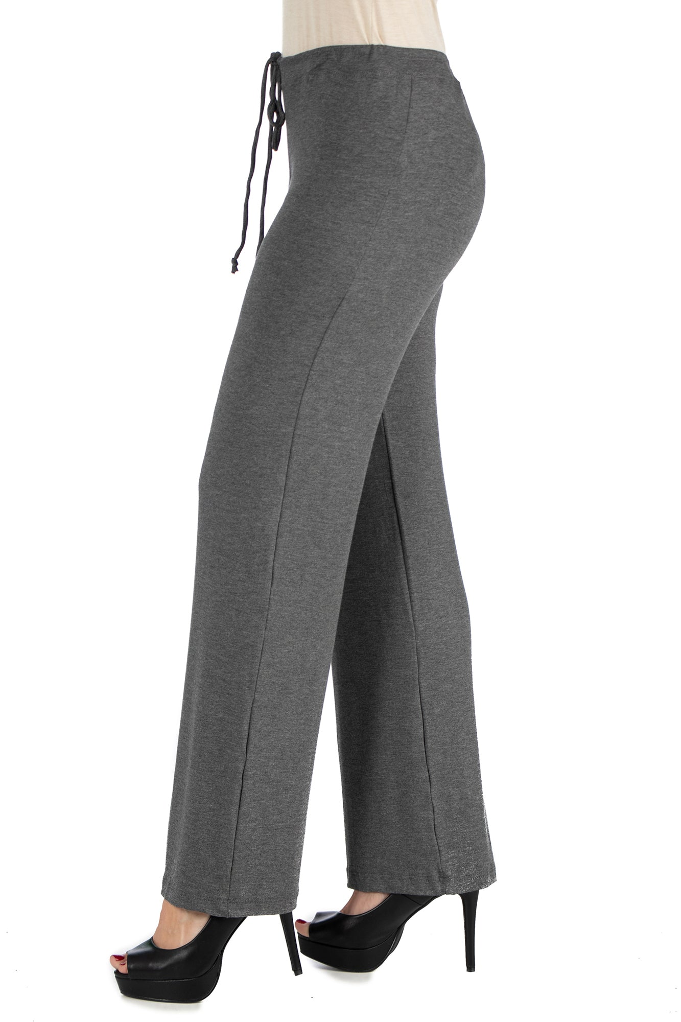 24seven Comfort Apparel Womens Comfortable Stretch Draw String Pants-PANTS-24Seven Comfort Apparel-SMOKE-S-24/7 Comfort Apparel