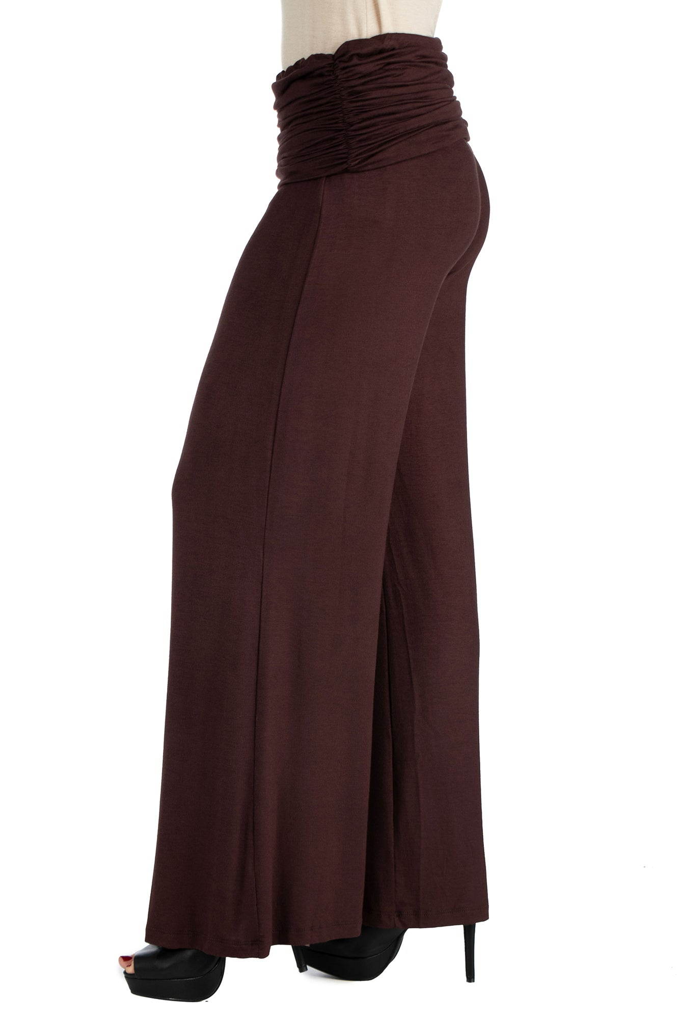 24seven Comfort Apparel Womens Fold Over Elastic Waist Palazzo Pants-PANTS-24Seven Comfort Apparel-BROWN-S-24/7 Comfort Apparel