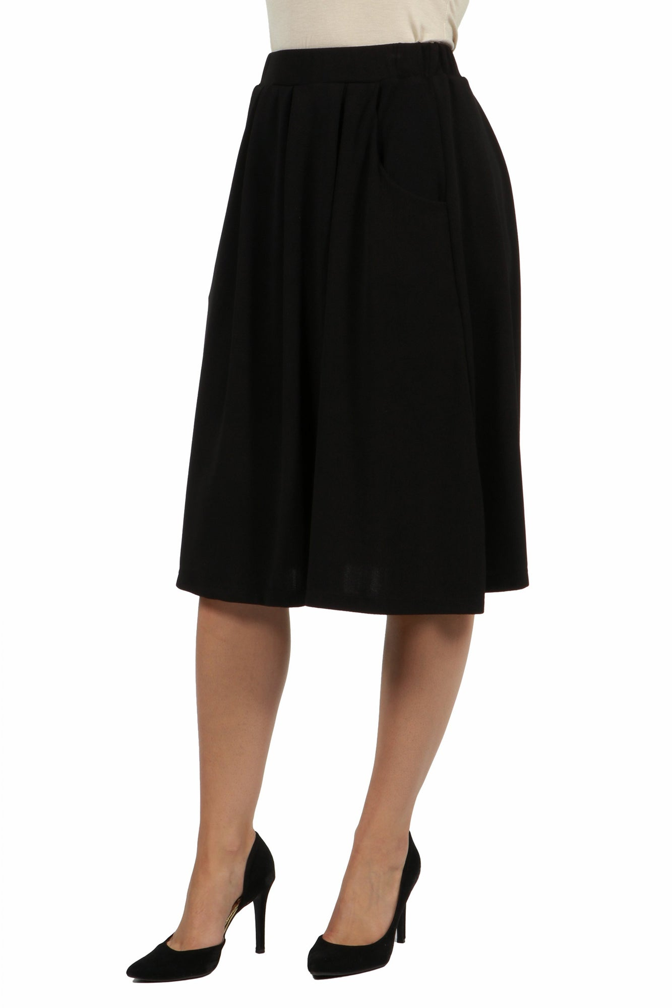 24seven Comfort Apparel Classic Knee Length Black Skirt With Pockets-SKIRTS-24Seven Comfort Apparel-BLACK-S-24/7 Comfort Apparel