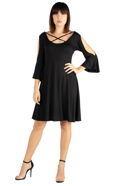 24seven Comfort Apparel Womens Criss Cross Neckline Cold Shoulder Dress-Dresses-24Seven Comfort Apparel-BLACK-S-24/7 Comfort Apparel